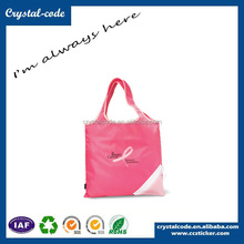 Durable Long Handle Polyester Folding Shopping PVC Coated Fabric Bag
