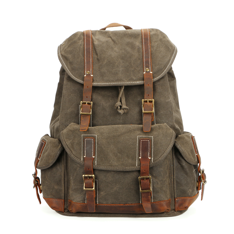 waxed canvas bag foldable hiking backpack travelling military backpack