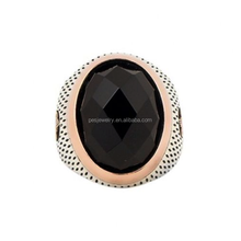 Fine Jewelry! Two Tone Plated Onyx Stone Persian Men's Ring (PES6-1568)