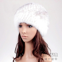 CX-C-118C Hand Knitted Natural Color Genuine Mink Fur Winter Hat