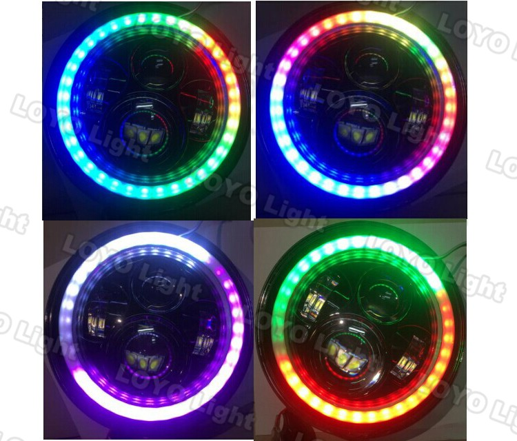 "2017 New product RGB DOT48W 7 inch round led headlamp DRL Turning Light 7"" LED Headlight for Jeep Wrangler"