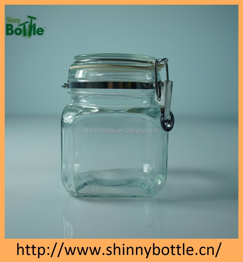 clip top large glass jar for nut, clear glass storage jar with clamp lid