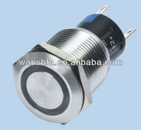 Anti-vandal metal push button switches with blue LED ring