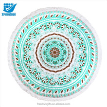 Customized Full Color Reactive Printing Round Beach Towel with Tassels