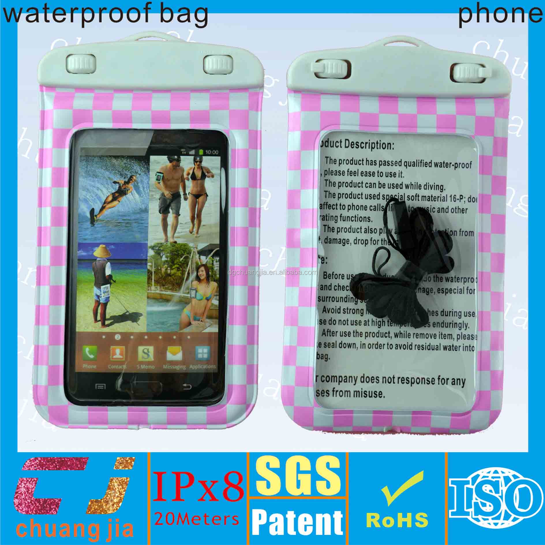 2015 custom phone waterproof case for samsung galaxy mega 6.3'' with lanyard