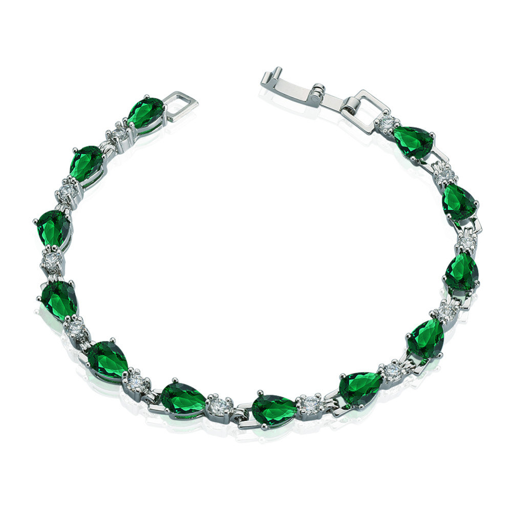 hot sale green crystal jewelry white gold plated cubic