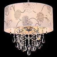 Modern hotel crystal chandelier with fabric shade and drops of crystal pendant light
