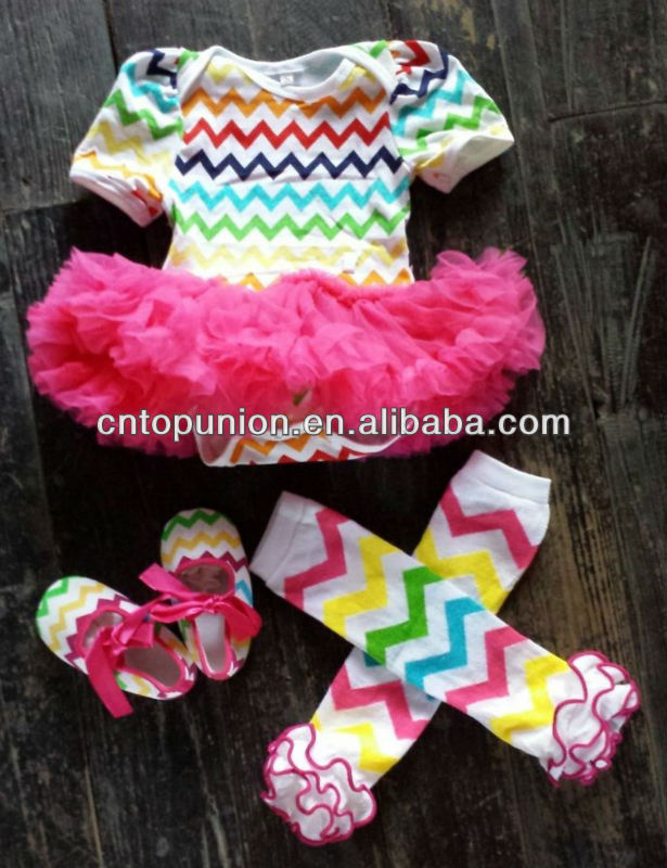 baby girls chiffon/chevron dress bodysuit dress baby cotton romper with hot pink tutu swing top swing outfit adorable girl