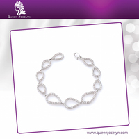 Teardrop Link Crystal Handmade Jewelry with Rhodium Plated Bracelet