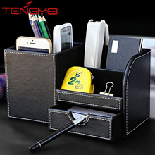 Leather multi-function desk stationery storage box.pencil ,mobile phone storage box holders