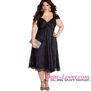 Elegant Lace Embellished Black Plus Size Cocktail Dress for Fat Women