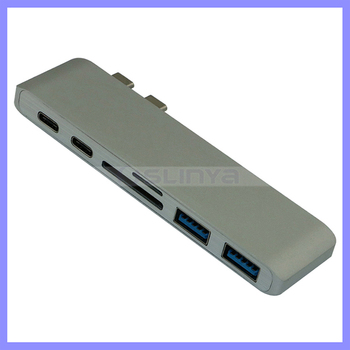 Alloy Double Aluminum 6 in 1 Type C Hub Adapter with SD/Micro Card Reader for MacBook