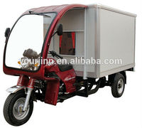 motor tricycle / three wheel motorcycle with roof and closed wagon box