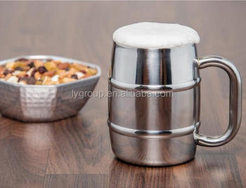 Stainless Steel Beer mug, 450ml double walled beer cup with custom logo, 500ml stainless steel Barrel Shape