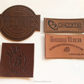 Custom made embossed faux leather patches for hat