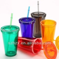 High Quality 2014 Double Wall Cups/Plastic Straw cups
