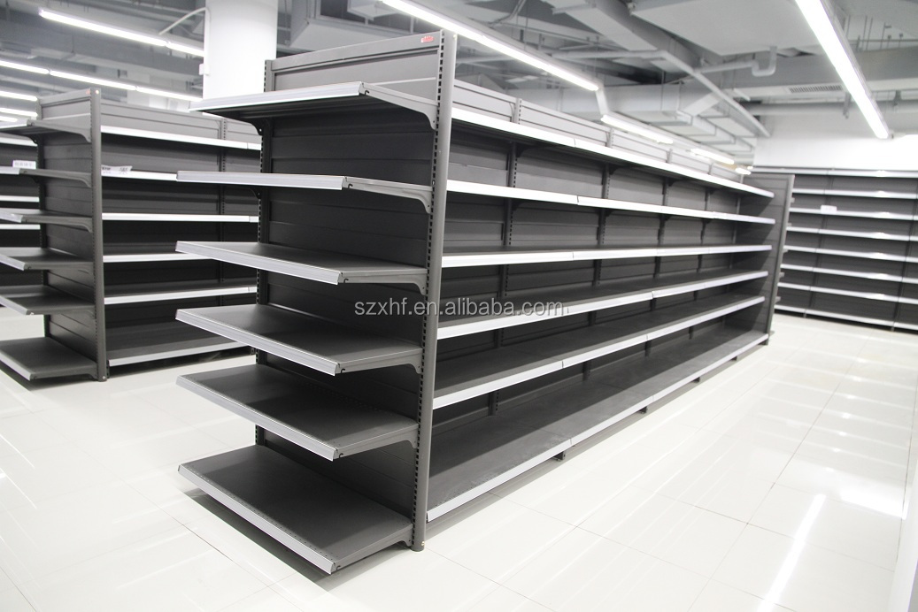 double sided metal grocery store display racks