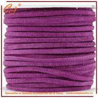 Jewelry leather cord lace, flat faux suede cord for jewelry making fuchsia