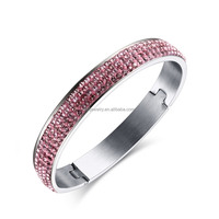 2016 newest half pave pink shiny rhinestone design silver bangle for women high quality stainless steel jewelry