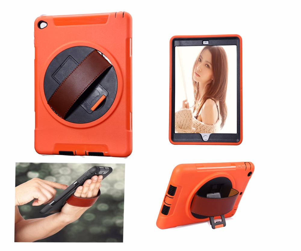 Case For iPad Air 2 Rugged Case With Hand Strap With 360 Degree Rotation Stand