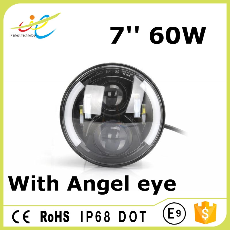 7inch round 60W Jeep wrangler headlight with Angel eyes