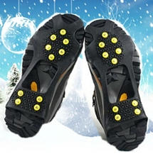 Slip-on traction for ice and snow shoe