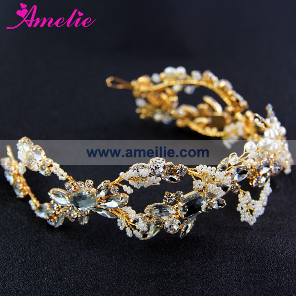 Factory Sell Pearl and Rhinestone Handmade Headband Bridal Wedding Tiara