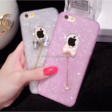 Luxury Diamond Glitter Bow Pendant BLING Soft TPU Phone Case for IPhone 5 5S 6 6S 6Plus 7 7 Plus S6 S6edge Plus S7
