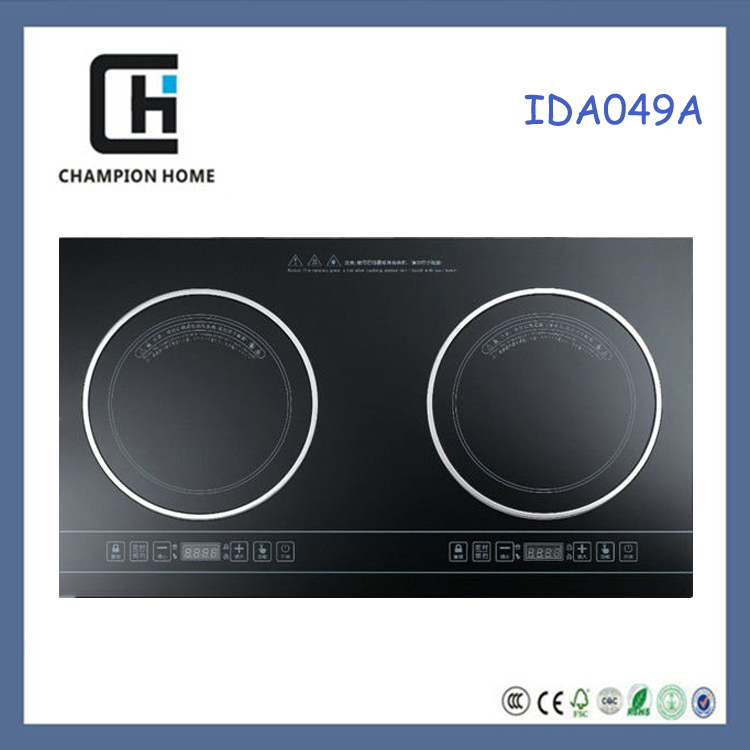 Champion home Chinese black crystal IDA049 built-in 2 burners high quality hotpot induction cooker