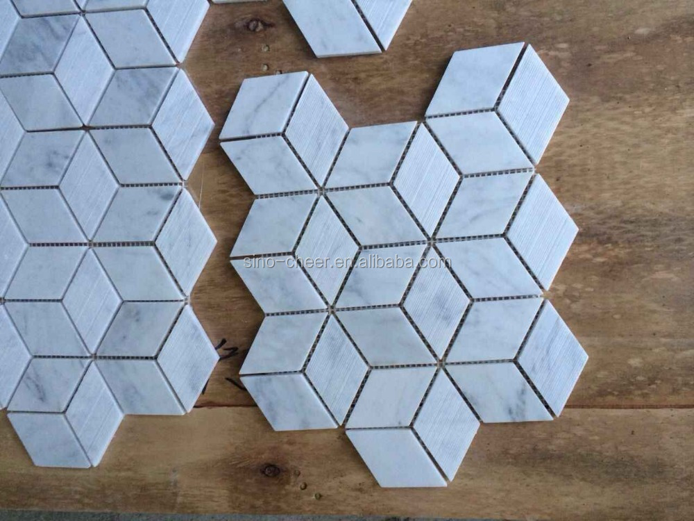 2015 china luxury decoration material marble mosaic tile,rhombus mosaic floor tile