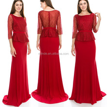 Wholesale Bulk Vintage Sexy Lace Tall Fat Casual Clothing Clothes OEM Long Sleeve Mother Of The Bride Evening Dress