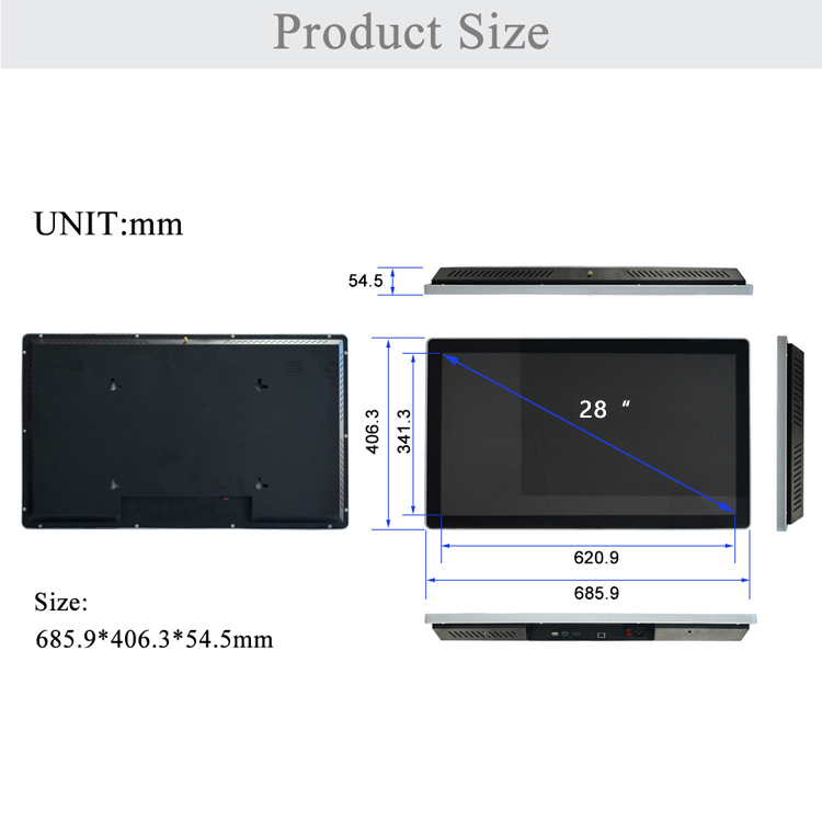 "28"" WINHI new type 4K capacitive touch video player car network management digital signage 4k square lcd display"