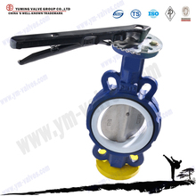 handle operated wafer type epdm/ptfe/nbr Lined seat Cast Iron butterfly valves