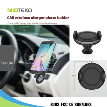 2016 universal new oem 3M sticker air vent type swivel cycle car qi wireless fast charger mobile phone holder for xiaomi red