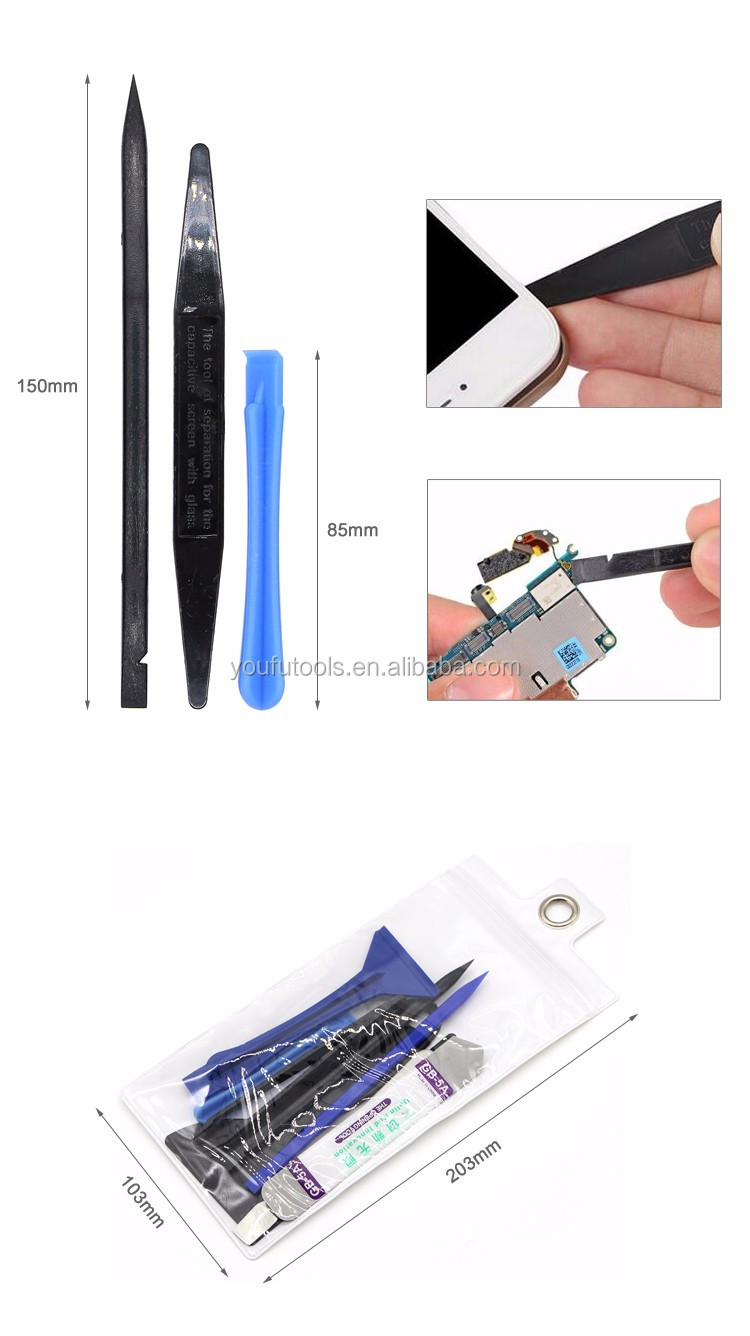 9 in 1 Safe Opening Tools Metal Spudger Plastic Prying Opening Spudger Picks Tool Kit for Cell Phone Tablets Laptop