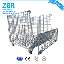 Heavy Duty Collapsible Storage Metal Foldable Wire Mesh Container for Warehouse