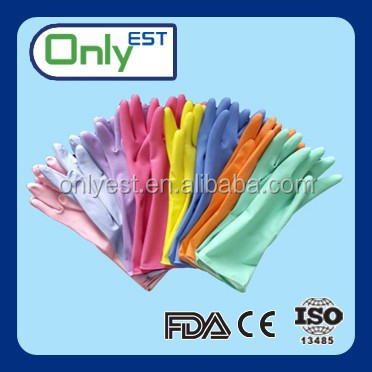 Superior quality anti dirt dish washing latex household gloves dipped flocklined