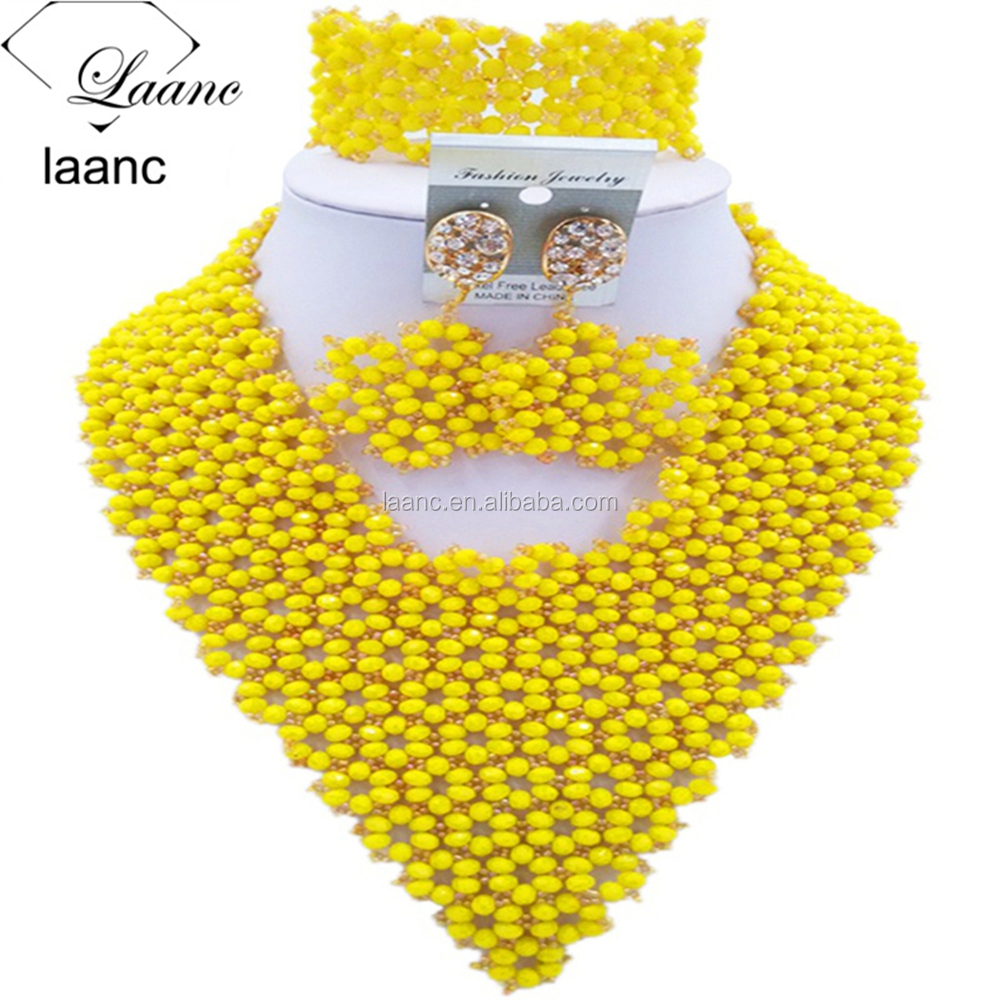 Yellow Wedding Jewelry Sets Crystal and Glass Beads African Style Nigerian Beaded Set Necklace for Women