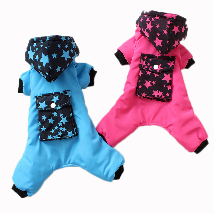 RoblionPet Wholesale Dog Apparel Pet Clothes Dog Winter Cotton Hoodie Cartoon Pattern Clothes