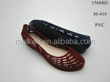 Latest JELLY lady shoes, low heel flocking PVC sandals