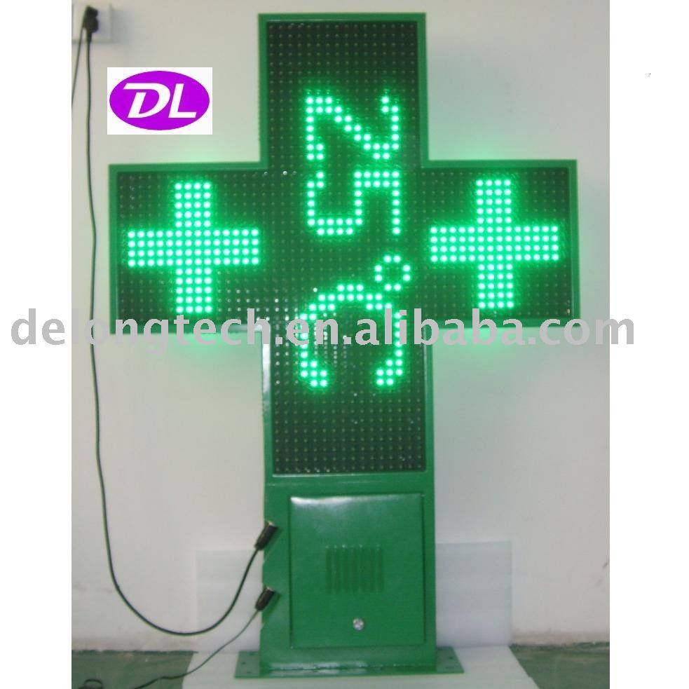 CE RoHS P20mm temperature led display programmable two sides graphic time pharmacy cross for advertising