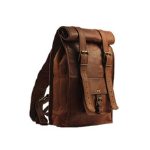 British Fashion Custom Casual Stylish Rolling Foldable Leather Backpack Men