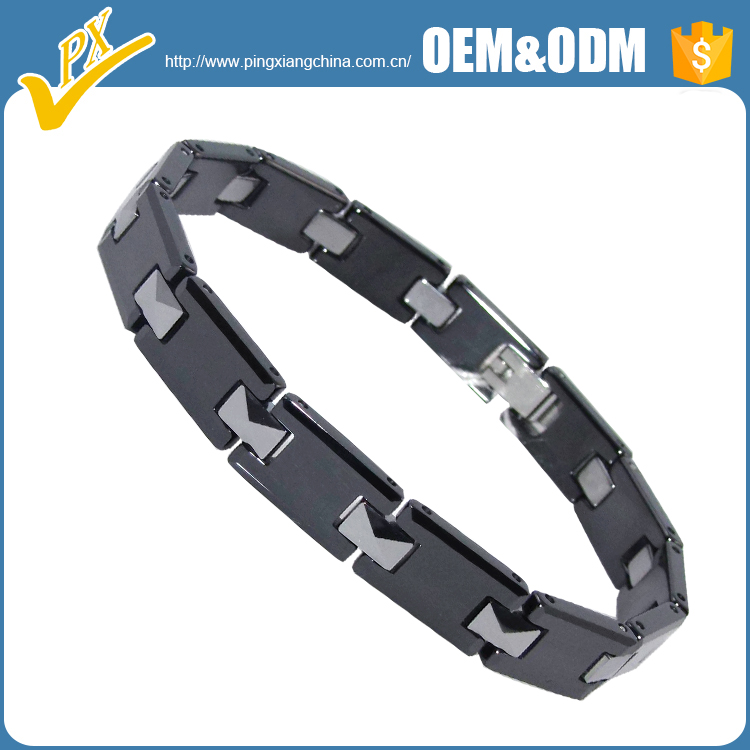 Hot sale fashion heathy black ceramic with tungsten magnetic bracelet jewelry
