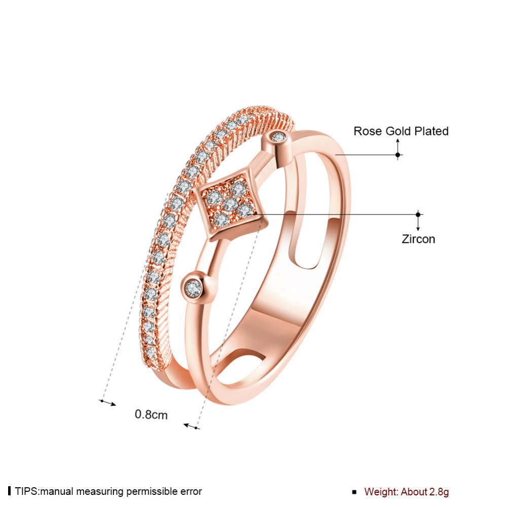 Brand Designer White Gold Plated Double Zircon Crystal Rings Fashion Jewelry Girlfriend Gift