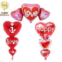 String Heart Foil Balloon Wholesales Decoration Wedding&Velentines days three heart connection balloon