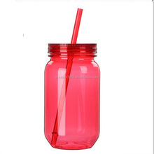 BB009 Double wall insulated plastic tumbler beer coffee juice jar mugs with straw