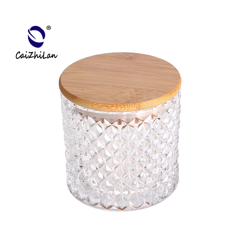 Wholesale Customized Glass Candle Jar With Bamboo Lid,Black Candle Jars Wholesale