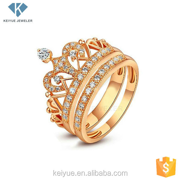Wholesale fashion Cheap Full of dynamic royal king crown 12k gold ring ladies finger design