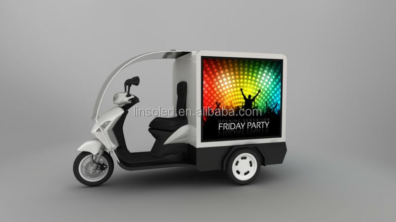 Shanghai YES-M1 Outdoor Mobile Three sides LED Screen Tricycle, Mini Digital Advertising Electric Vehicles For Express