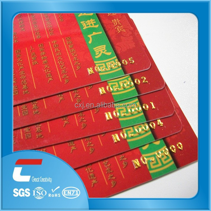 custom printing embossed hard plastic business cards gold stamp/Printed Membership Plastic Cards
